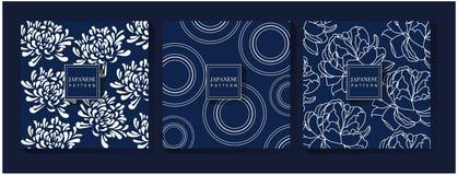 Japanese Blue Pattern Background royalty free illustration