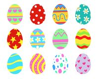 Set of 12 Easter eggs collection. Colorful decoration. Hand drawn illustration. Easter eggs collection. Colorful decoration icon set stock illustration