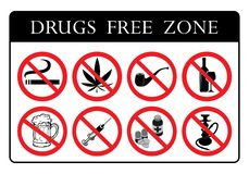 Drugs Free Zone Board royalty free illustration