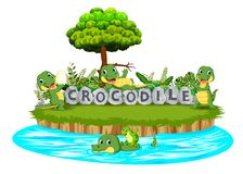 Crocodile are playing together in the garden with stone letter. Illustration of Crocodile are playing together in the garden with stone letter royalty free illustration