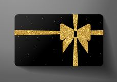 Gift card VIP. Holiday blank design with big golden bow, ribbon and gold glitter pattern royalty free illustration