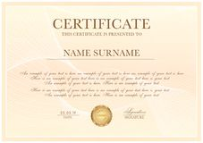 Certificate template with Guilloche pattern, silver frame border and gold award royalty free illustration
