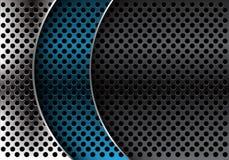 Abstract blue silver grey metal circle mesh curve overlap design modern luxury futuristic background vector. Illustration vector illustration