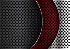 Abstract red silver grey metal circle mesh curve overlap design modern luxury futuristic background vector. Illustration vector illustration