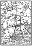Ancient vessel under full sail against stormy sea landscape in frame stock illustration