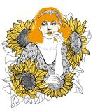golden-haired girl among sunflowers royalty free stock photo