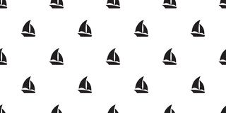 Boat seamless pattern yacht sailboat anchor helm maritime Nautical tropical scarf tile background repeat wallpaper. White royalty free illustration