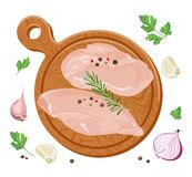 Fresh raw chicken fillet on cutting wooden board vector illustration