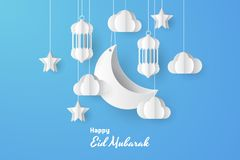 Eid Mubarak greeting Card Illustration, Ramadan kareem background illustration. Paper cut. vector illustration