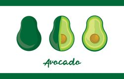 Fruit Illustration pack Avocado in Whole and Sliced royalty free illustration