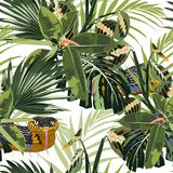Tropical seamless pattern with bright green leaves and yellow snake on white background. royalty free illustration