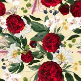 Seamless pattern with red peony, roses, lilies flowers and herbs on yellow background. royalty free illustration