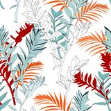 Creative universal floral background in tropical style. Hand Drawn textures. stock illustration