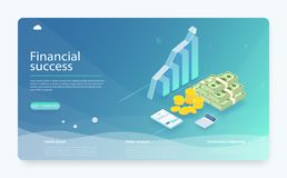 Financial research concept. Business analysis isometric vector. Graphic and audit documentation, financial goal concept. vector illustration