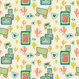 Mid Century Desert scene repeat pattern royalty free illustration