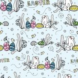 Rabbit with eggs under the bush. Easter. Seamless pattern. stock illustration