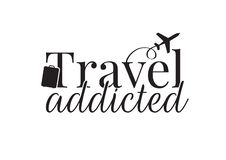 Travel addicted, Wording Design, Flying Airplane, Suitcase Vector isolated on white background vector illustration
