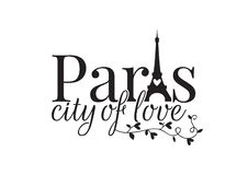 Paris city of love, Wording design, Wall Decals, Eiffel Tower. Branch with hearts illustration isolated on white background royalty free illustration