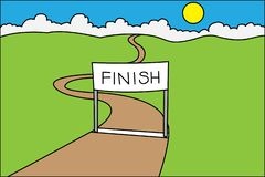 Finish line in landscape royalty free illustration