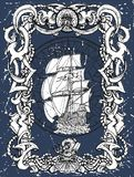 Old baroque frame with sea pattern and sailing frigate against grunge texture background stock images