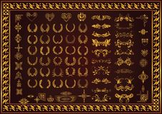 Set decorative elements and badge laurel wreaths. Gold color vector illustration