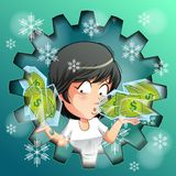 Person is carrying frozen money in ice. royalty free illustration