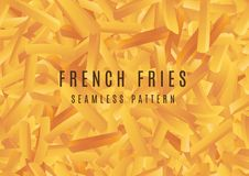 Vector French fries seamless pattern background stock illustration