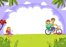 Father and mother cycling with daughter crying in the city park. Illustration of Father and mother cycling with daughter crying in the city park vector illustration