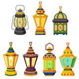 collection of Ramadan candle Lantern in low light mode stock photos