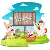 happy bunny and rooster painting egg with blank wood sign background royalty free stock photos