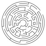 Circular labyrinth with entry and exit. Line maze game. Medium complexity. Vector stock illustration
