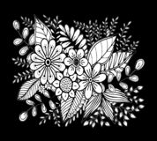 Hand drawn floral doodle. Coloring pages for book. Vector. Line art royalty free illustration