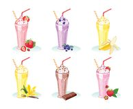 Set of glasses with different milkshakes. Isolated on white background. Strawberries, raspberries, blueberries, vanilla, chocolate, banana. Vector illustration royalty free illustration