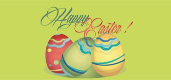Happy Easter Holiday Card with Eggs. Web banner with Happy Easter. Copy stock photos