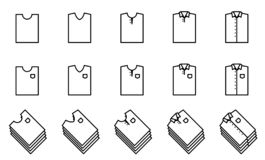 T shirt and shirt fold icon set for closet. royalty free illustration