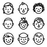 Kids and childs face avatar icons. royalty free illustration