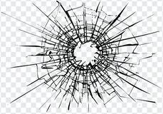 Broken glass, cracks, bullet marks on glass. royalty free illustration