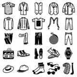 Man clothes and accessories icon set. vector illustration
