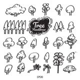 Tree handdrawn, black&white lines, drawing. royalty free illustration