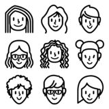 Woman and girl face avatar icons. stock illustration
