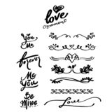 Love Hand drawn Ornaments and Calligraphy Words, divider. royalty free illustration