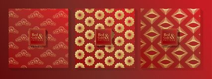 Red and Gold Pattern stock illustration