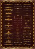 Nice set calligraphic decor elements gold color stock illustration