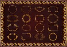 Set vintage frames dividers gold color vector illustration