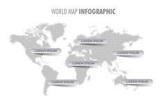 Light halftone world map infographic template stock illustration