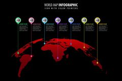 World map infographic template black background, color icons as data visualization vector illustration