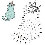 Connect the dots and draw a funny unicorn cat. Numbers game for children with caticorn