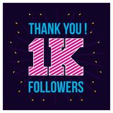 Thanks for the 1000 followers. Thank you 1K follower congratulation card on wavy background. Vector illustration royalty free illustration