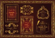 Nice decorative vintage frames set suitable to beautify and beautify the appearance. Decorative vintage frames set gold color which is very suitable to beautify stock images