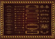 Nice set decorative floral elements gold color and beautifying your. Set decorative floral elements gold color which is very suitable and good for adding and stock illustration